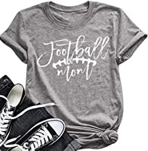 Football Mom T-Shirt Women Funny Graphic Football Tees Top Casual O-Neck Summer T-Shirt with Saying