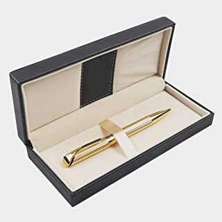 Penneed Ballpoint Pen with Gift Box, Retractable Pen for Men Women Executive Business Office School Supplies, Refillable 1.0mm Black Ink B5 (Gold)