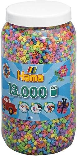 Hama - 211-50 - Loisirs Créatifs - Pot 13000 Perles à Repasser - Taille Midi - Mélange Pastel