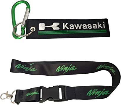 1pc Wristlet Keychain Key Ring Embroidered Logo Motorcycle Superbike Motorrad Motorsport Scooter Car SUV Truck House Keys Chain Office ID Biker Accessories Works with Kawasaki Ewein 1pc Lanyard