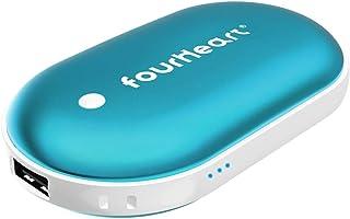 Four Heart Calentador de Mano USB/USB-C Recargable, 5200mAh Powerbank Batería Externa, Electrico Reutilizable Calentamiento Rápido Calentadores de Bolsillo Cargador Móvil Portátil (Azul, USB)