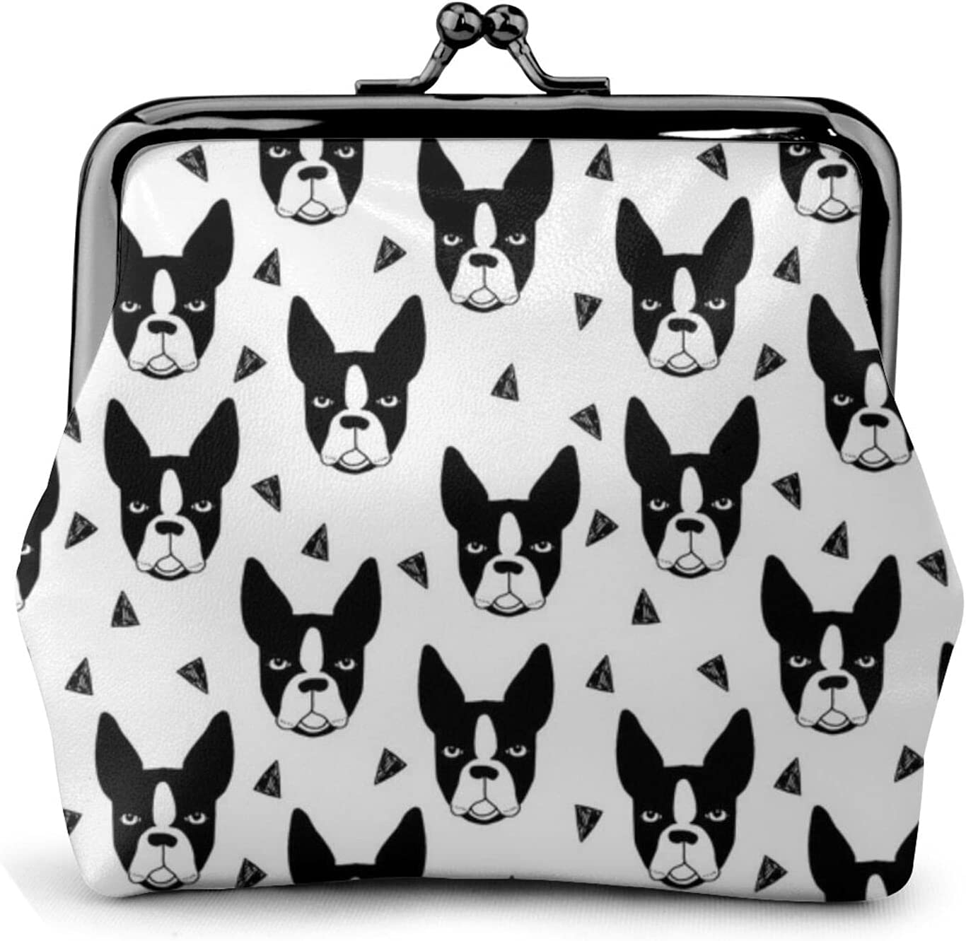 Boston Terrier Boston 939 Coin Purse Retro Money Pouch with Kiss-lock Buckle Small Wallet for Women and Girls