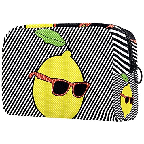 Yitian Pop Lemon con líneas de gafas de sol bolsa de cosméticos para mujeres, adorables bolsas de maquillaje espaciosas bolsa de aseo de viaje
