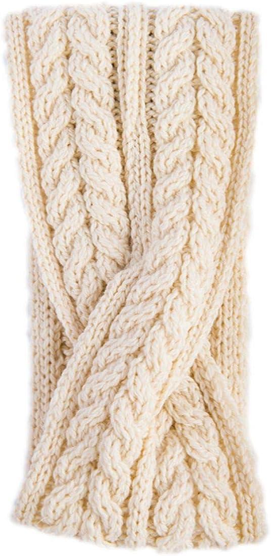 Aran Woollen Mills Super Soft Merino Wool Crossover Headband In Natural White