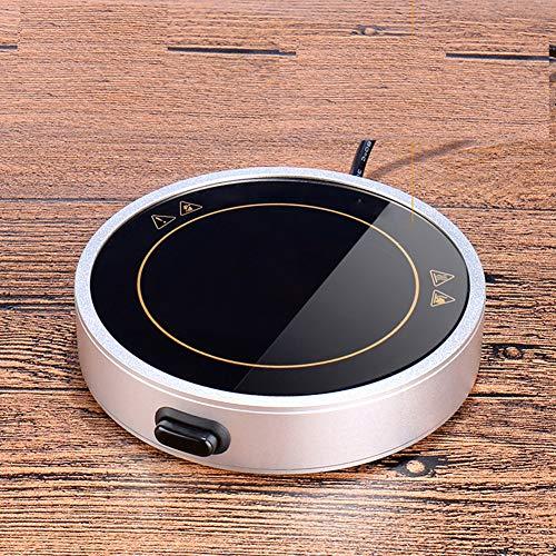 USB Calentador Taza Carcasa De Aleación Calentador De Tazas Operación Clave Calienta Tazas USB con Panel Microcristalino para Aislamiento De Leche, Bebidas, Té,Plata