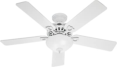 "Hunter Astoria Indoor Ceiling Fan with LED Light and Pull Chain Control, 52"", White / Light O"