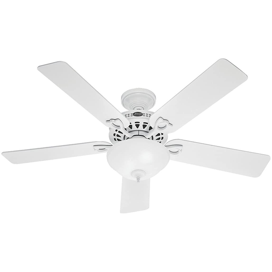 Hunter 53059 The Astoria 52-inch White Ceiling Fan with Five White/Light Oak Blades and Light Kit