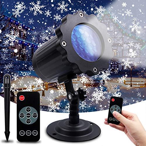 DigHealth Proiettore Luci Natale, Proiettore Luci Fiocchi Di Neve LED Impermeabili IP65 En Esterno E Interno, Lampada Proiettore Natale Con Telecomando RF E Timer Per Natale, Festa, Nozze E Giardino