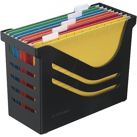 Boîte de Bureau avec 5 Dossiers Suspendus A4, Panier à Dossiers Suspendus, Noir, Jalema 2658026998, Re-Solution Office Box, Idéal pour Domicile ou Bureau