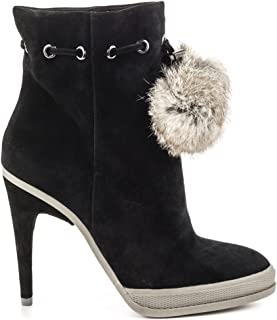 BCBG Max Azria Women's Perry Ankle Boot,Black/Frost Kidsuede/Fur,US