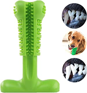 TUOU Dog Toothbrush Silicone Dental Care Toothbrush Stick STB001 FDA Certificate, Healthy Bone-Shape Chew Toys Teeth Clean for Puppy and Middle Dogs (Green)