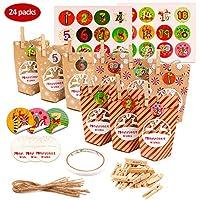 Boîte de Noël-- La boîte comprend 3 types de boîtes avec des flocons de neige, des rayures, des cercles et d'autres motifs. 8 pour chaque boîte de Noël. 24 cartes de Noël de cerf, 24 feuilles d'autocollants de calendrier numérique, 24 cordes de coton...