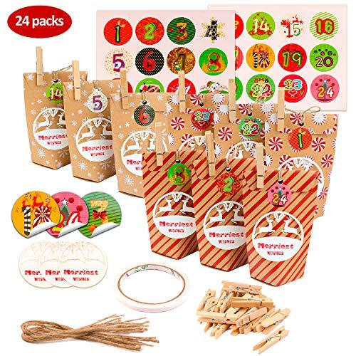 KATELUO Calendarios de adviento,24 Bolsas Kraft, 24 Colgantes de Deseos de Navidad - Caja de Favor para Bautizo de Fiesta de cumpleaños de Boda (24 Piezas)