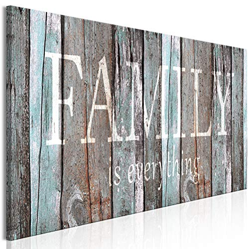 artgeist Canvas Wall Art Quotes Family 47.2'x15.7' 1 pcs Home Decor Framed Stretched Picture Photo Painting Artwork Image - Family House Faux Wood m-A-0956-b-a