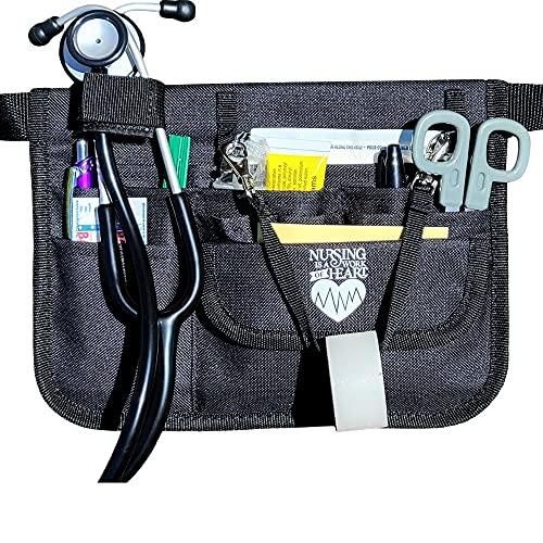 Nurse Fanny Pack with Stethoscope Holder – Medical Waist Bag Ideal for Nurses and Medical Care Workers – Premium Medical Fanny Pack for Nurses -Nurse Gift for Women-Black