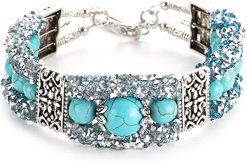Ai.Moichien Women's Turquoise Engraved Feather Crystal Multilayer Bracelet Bohemian Vintage Jewelry