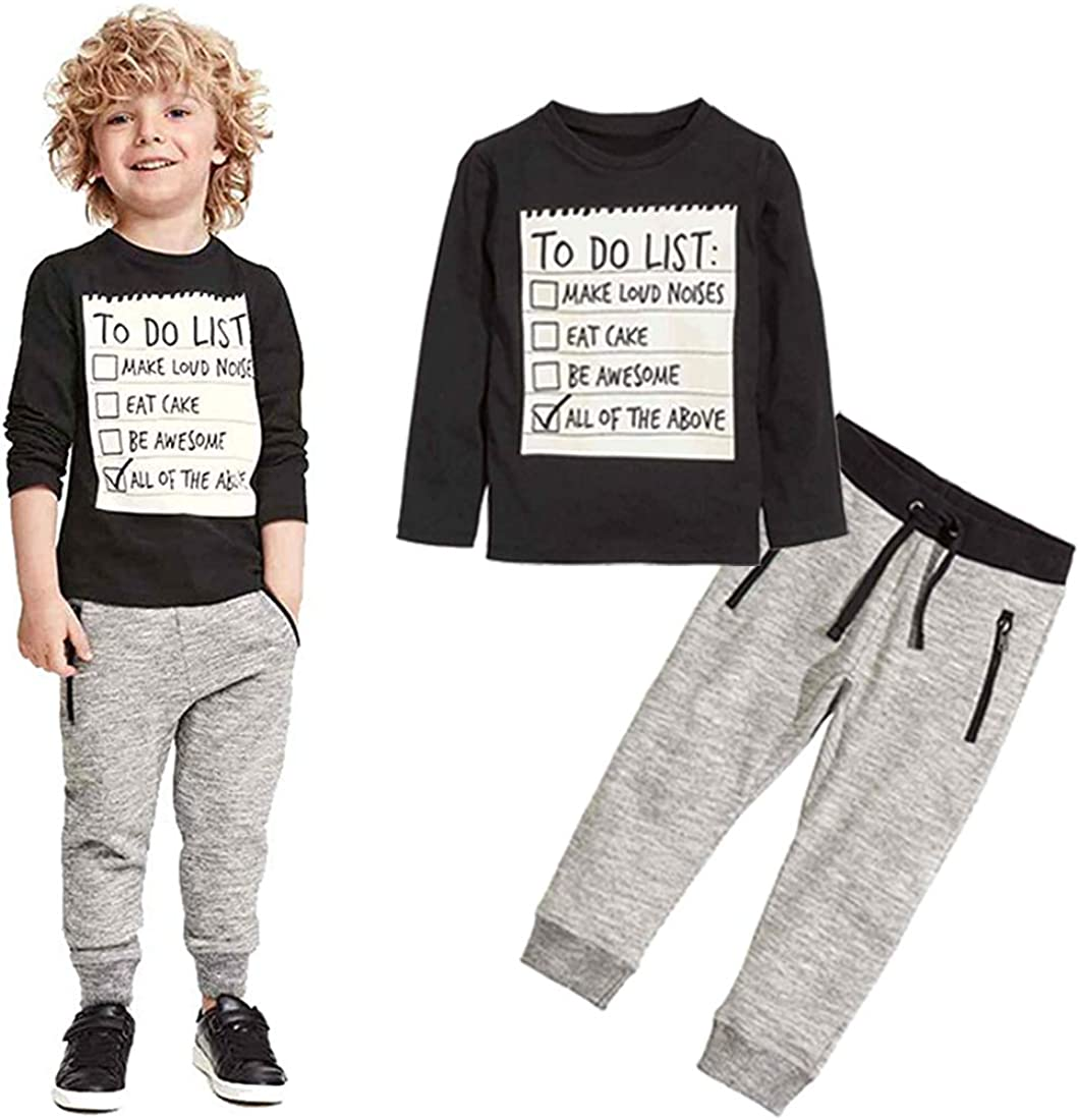 Toddler Kids Boys Summer Winter Outfits Set Letter Print 2 Pcs Set Boys Cotton Clothing Set
