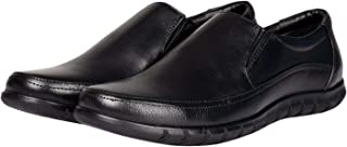 Kanprom Men's Black Genuine Leather Formal Round Toe Slip On Shoes
