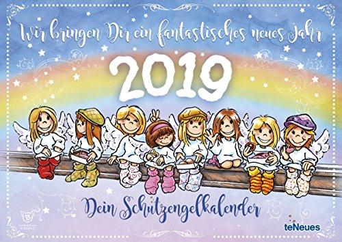 Schutzengel - Kalender 2019 - teNeues-Verlag - Broschurkalender mit niedlichen Engeln, süßen Sprüchen und Platz für Eintragungen - 42 cm x 29,7 cm (offen 42 cm x 59,4 cm) - Dein Schutzengelkalender