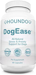 HOUNDO DogEase | Premium Stress and Anxiety Relief for for Dogs | Ashwagandha + Chamomile + L-Theanine | | Dog Calming Supplement | Helps Lower Cortisol Levels | Made in The U.S.A. | 90 Day Supply