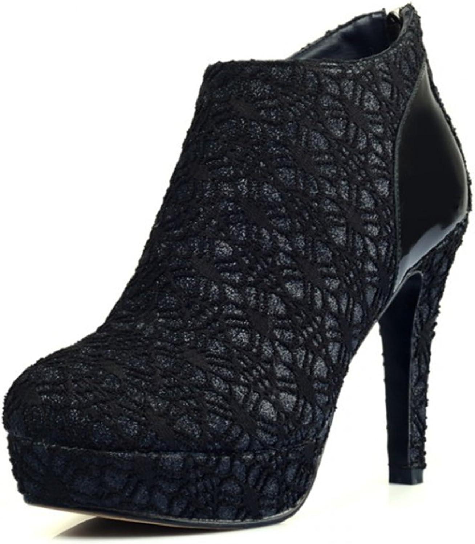 MOBAI Womens Lace Platform Dress Pumps Boots High Heels