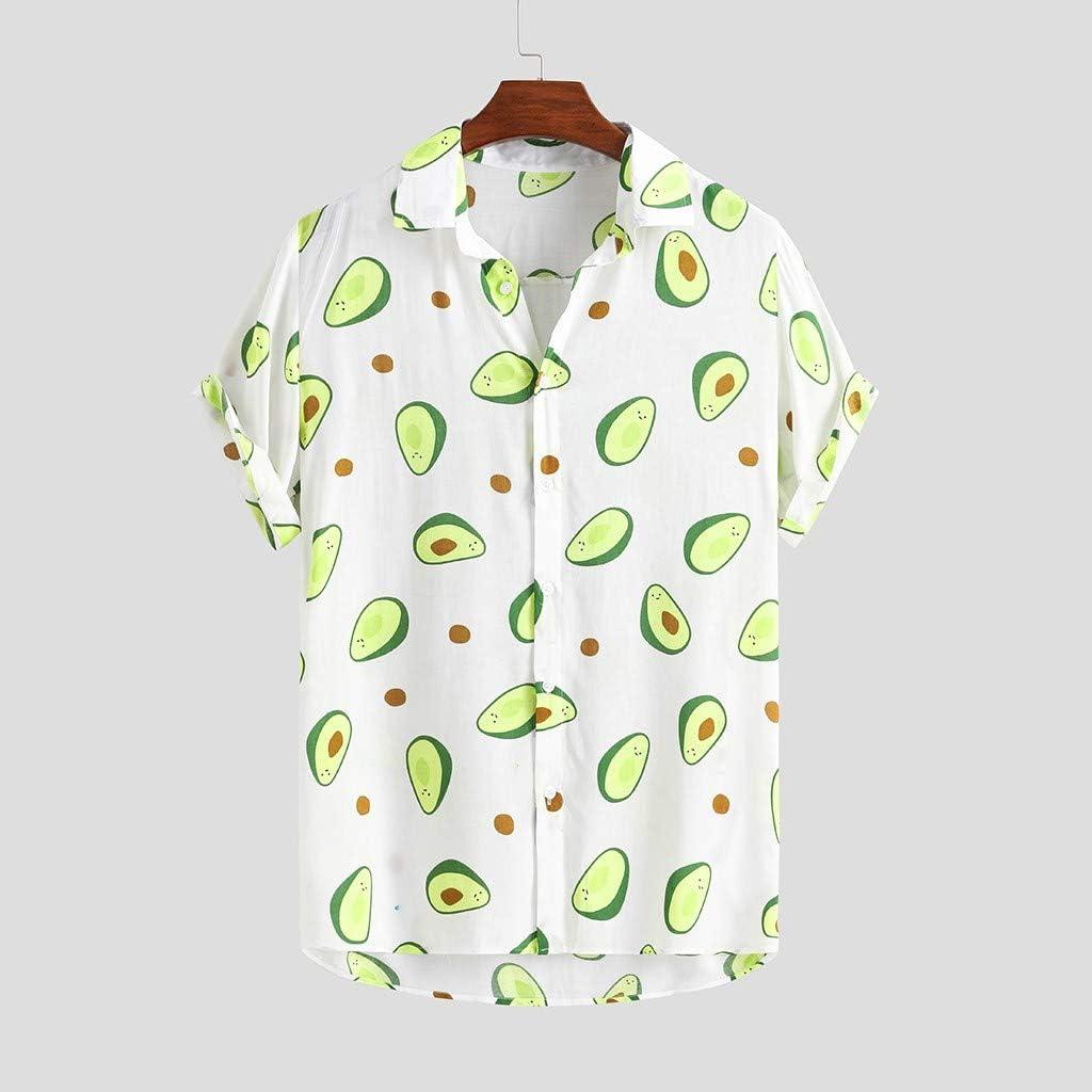 DZQUY Men's Casual Button Down Hawaiian Shirt Short Sleeve Summer Loose Funny Printed Tops Fashion Party Aloha Beach T-Shirts