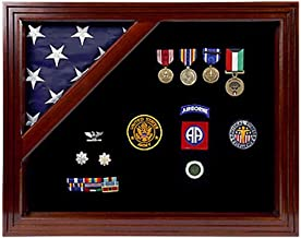product image for Military Award Shadow Box with Display Case for 3 x 5ft Flag - Felt in Black.