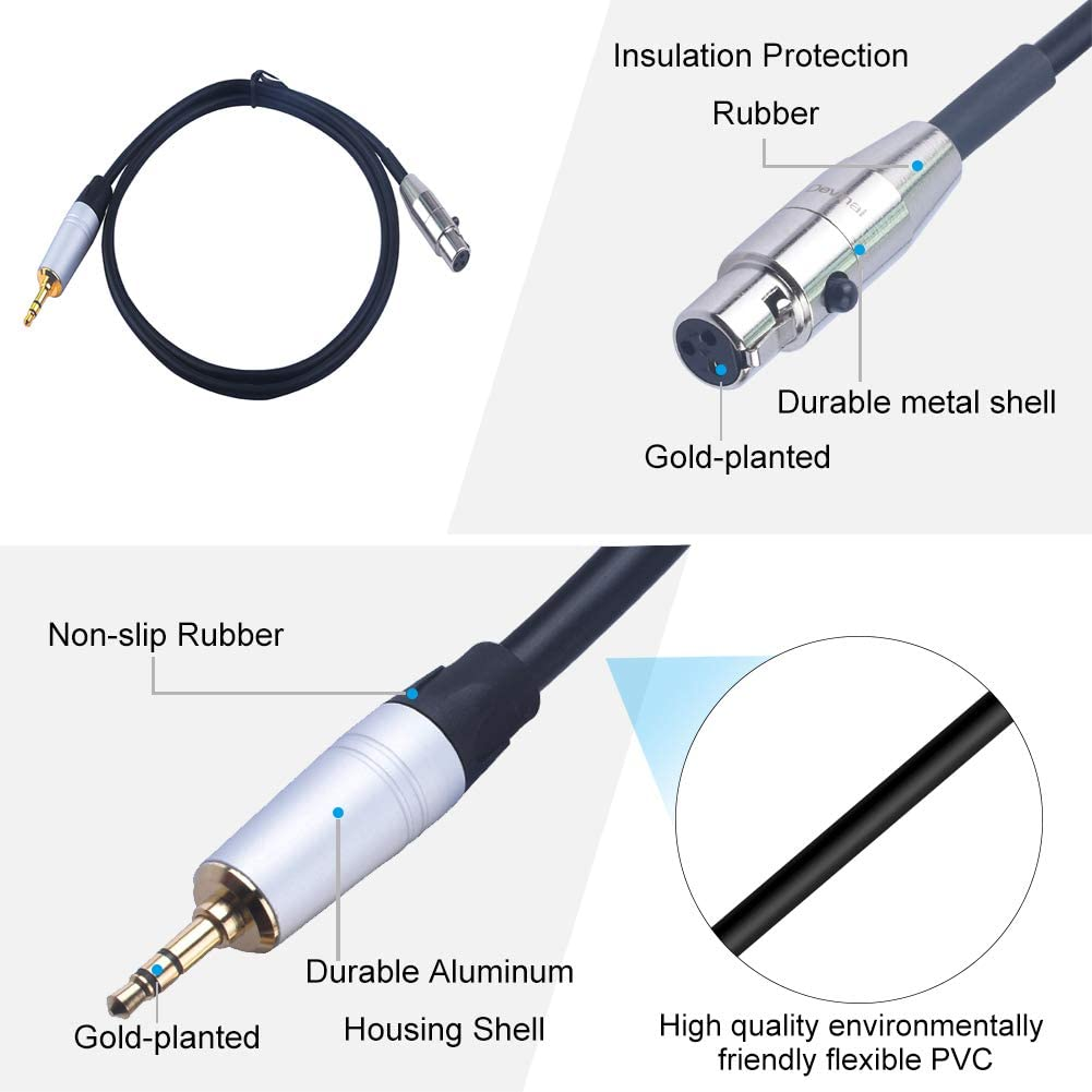 1//8 inch Stereo TRS to 3 Pin Mini XLR Female Cord Adapter Connector Audio Cable for Pro Lapel Mic 6.6 FT Devinal Female Mini XLR to 3.5mm calbe
