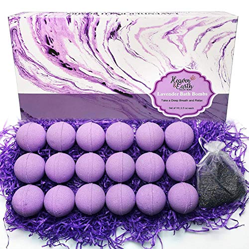 Lavender Bath Bombs Gift Set for Men and Women. 18 Lavender Bath Bombs Bulk with Essential Oils. Relaxing Bath Bombs Individually Wrapped with Organic Ingredients. Natural Bath Balls for Women & Men!