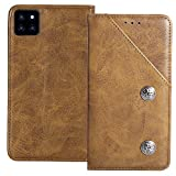 YLYT Shockproof - Brown Flip Leather TPU Silicone Retro Cover with Stand Wallet Case for Cubot X20 Pro 6.3 inch with Card Slots