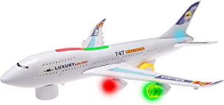 Top Race Boeing 747 Replica Model Airplane Toy, with Lights and Real Sounds, Bump and Go Action