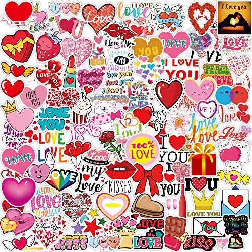 Valentine Stickers 100pcs Heart Stickers Vinyl Waterproof Stickers for Kids Teens Adults Bike Luggage Car Laptop Skateboard Motorcycles Valentines Day Decoration