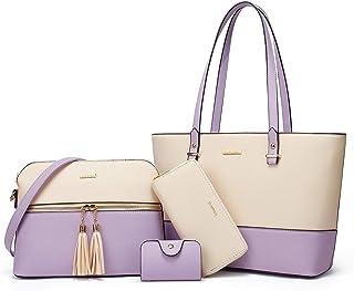 YTL Damen-Handtaschen, PU-Leder, große Schultertaschen, 4-teiliges Set für Mädchen