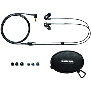 Shure SE215-K Professional Sound Isolating Earphones with Single Dynamic MicroDriver, Secure In-Ear Fit - Black