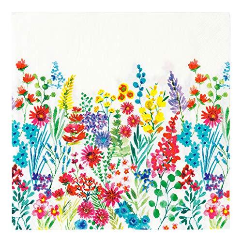 Confezione da 20 tovaglioli colorati con fiori di carta, usa e getta per l'estate, picnic, barbecue, feste in giardino, Pasqua, decoupage