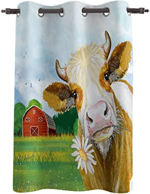 Window Curtains Drapes Panel(72inch Length),Farmhouse Animal Cattle with Daisy Barn Window Treatments for Bedroom/Living/Dining/Kids Room,Grommet Thermal Insulated Darkening Curtain,White Green