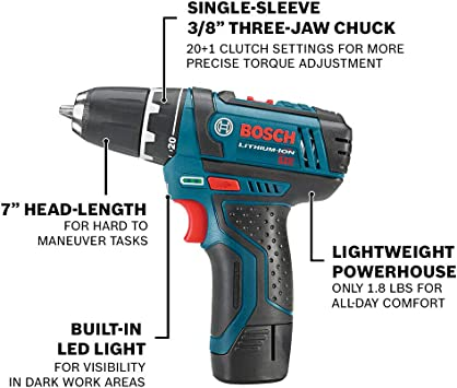 BOSCH Power Tools Combo Kit CLPK22-120 - 12-Volt Cordless Tool Set (Drill/Driver and Impact Driver) with 2 Batteries, Charger and Case , Blue