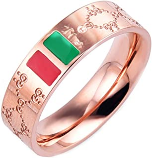 Fashion Luxury Shine Celebrity Ring Classic Red and Green Bar Titanium Steel Ring