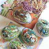 Treer 8 Pezzi Uova di Pasqua,Decorazione di Pasqua a Motivi Uovo Coniglietto Giardino Diversi Colori Decorazione Artigianato Scatola Rotonda di Latta (Piccolo,Scatola di Caramelle)