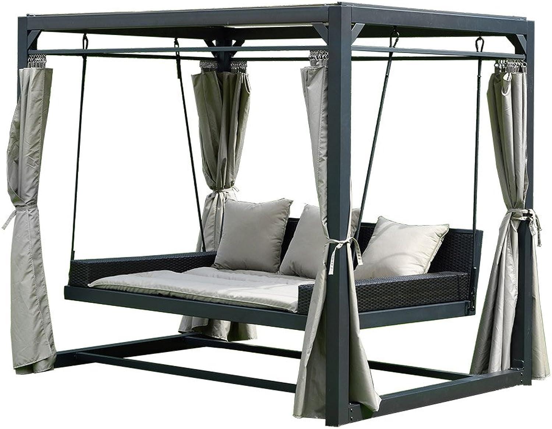 Home Deluxe - Pavillon Provence - Schwebendes Rattanbett inkl. schliebare Vorhnge