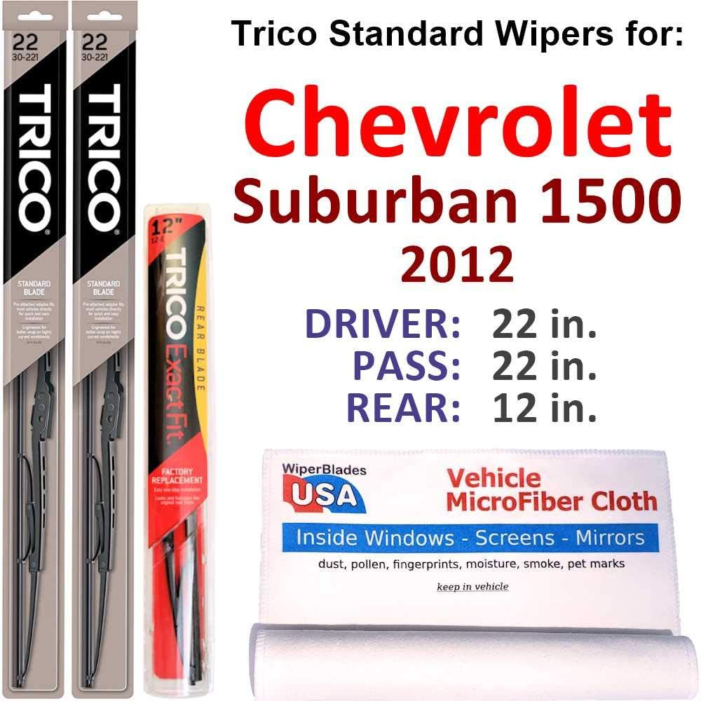Wipers for 2012 Chevrolet Suburban 1500 W w Set Rear Trico Steel Limited 2021 model Special Price