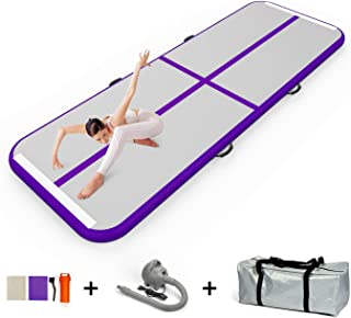 GLANT 10ft/13.3ft/16.6ft/20ft Air Track Tumbling Mat Inflatable Gymnastics Airtrack Tumbling Mat with Electric Air Pump for for Home Use/Training/Cheerleading/Beach/Park and Water