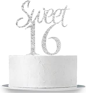Sweet 16 Cake Topper - Silver Glitter Sweet Sixteen Cake Topper - 16th Birthday Party Decorations Supplies