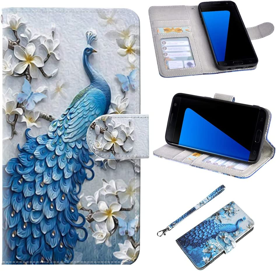 S7 Case, UrSpeedtekLive Galaxy S7 Wallet Case, Premium PU Leather Wristlet Flip Case Cover with Card Slots & Stand for Samsung Galaxy S7, Peacock