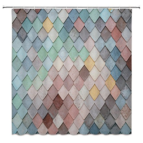 Feierman Mermaid Scale Shower Curtain Art Decor Colorful Watercolor Scale Bathroom Curtain Decor Machine Washable with Hooks 70x70Inches