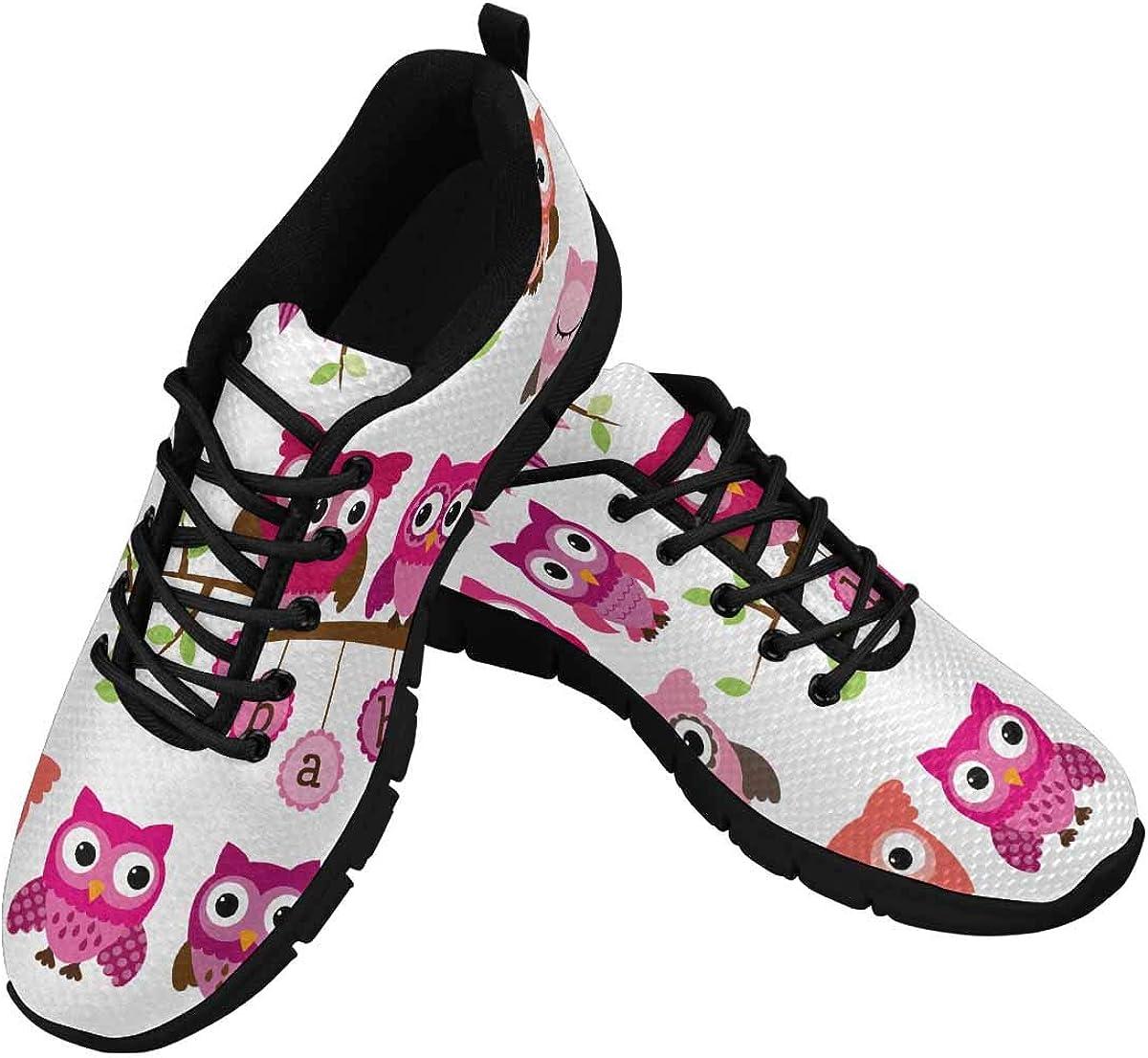 INTERESTPRINT Cute Cartoon Owls Background Women's Athletic Walking Shoes Casual Mesh Comfortable Work Sneakers