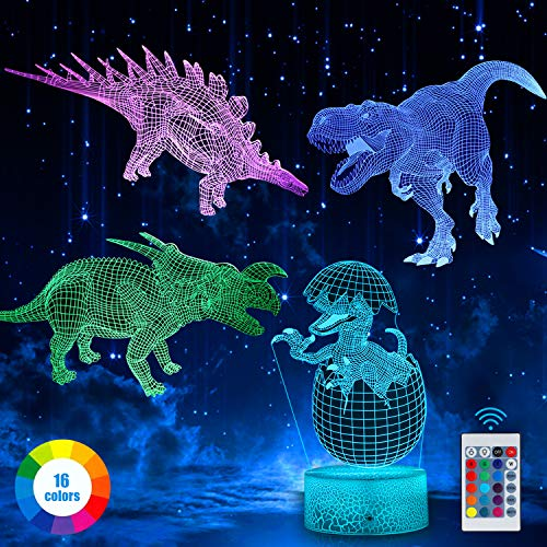 3D Dinosaur Night Light, LED Dinosaur Night Light for Kids, 3D Illusion Lamp 4 Pattern and 16 Colors with Remote Control, Birthday and Holiday Gifts for Children