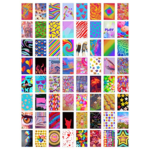 TECISE Indie Room Decor For Bedroom - Photo Collage Kit 64 pcs For Wall Aesthetic - Kidcore Grunge Trippy Pictures - Cute Trendy Stuff Room Decor For Teen Girls - 4x6 inch Photo Collection