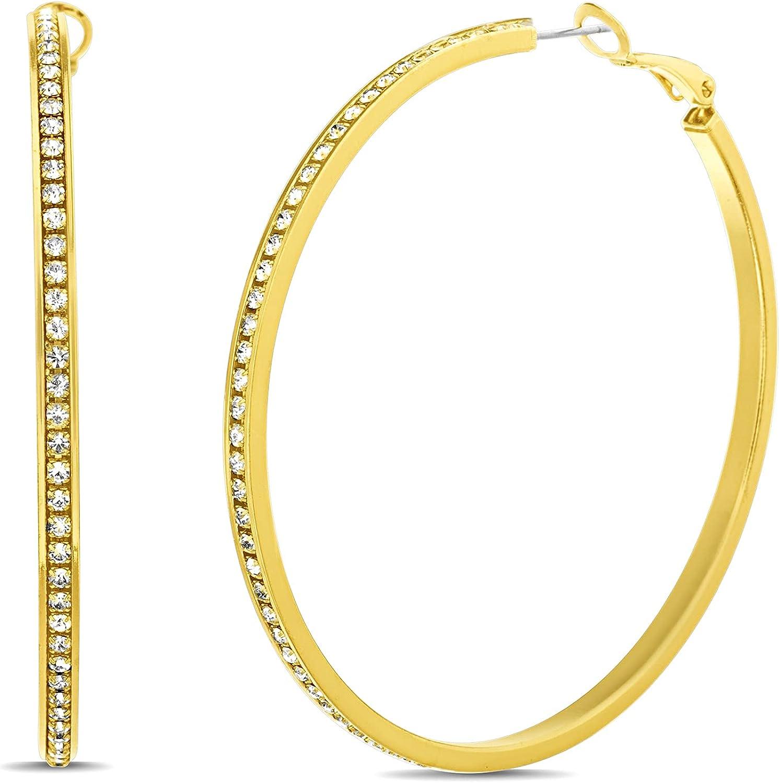 Steve Madden 60mm Rhinestone Thin Hoop Earrings for Women