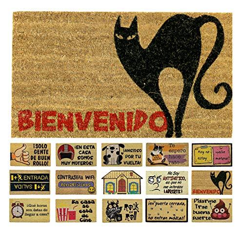 LucaHome - Felpudo de Coco Natural 70x40 con Base Antideslizante, Felpudo de Coco Divertido Gato Negro,Felpudo Absorbente Entrada casa, Ideal para Puerta Exterior o Pasillo